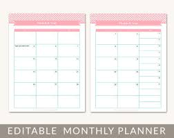 printable monthly calendar planner grid editable pdf for