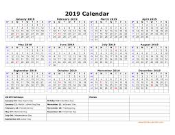 printable calendar year on one page free download printable calendar 2019 with us federal holidays one