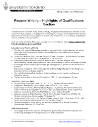 Resume Key Skills Examples Qualifications Qualifications Section Of Resume