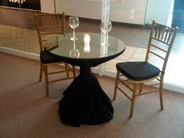 cocktail table with tablecloth black top mirror and tiffany