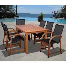 eucalyptus wood dining table amazonia bahamas eucalyptus wood 7 piece rectangular patio dining