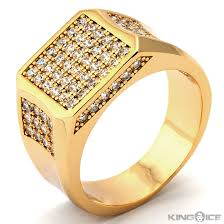 gold ring for men plain gold rings for men mens gold plated cz square rapper