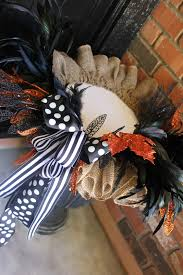 burlap halloween wreath my sister u0027s crazy porch decorations that easily transition from