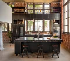 Industrial Kitchen Pendant Lights Brick Walls With Kitchen Track Lighting And High Ceiling Also