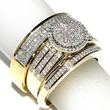 10k gold wedding ring sets his and bridal rings set trio 073ct 10k yellow gold halo style