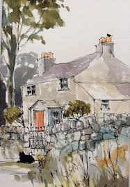 original watercolour landscape painting country cottage annabel burton
