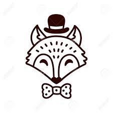cute cartoon fox drawing with hat and bowtie hand drawn doodle