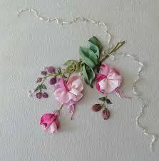silk ribbon embroidery fuchsias ribbon embroidery kit on picket fence noil chamois