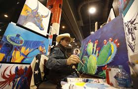 themed paintings western artist adds pop of color to rodeo houston houston