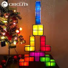 christmas tree light game diy tetris puzzle light stackable led desk l constructible block