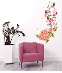stickerskart multicolor flower wall decals in pink blossoms sofa stickerskart multicolor flower wall decals in pink blossoms sofa background art living room home vinyl wall