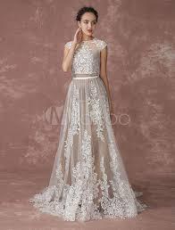 milanoo robe de mari e robe de mariée bohémienne plage en dentelle deux pièces shrug
