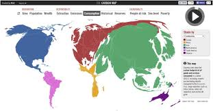 cartogram map the carbon map cartogram of co2 emissions by consumption of goods