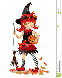 little cute cartoon halloween witch stock illustration image