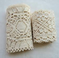 wide lace ribbon 1 meter beige wide crocheted lace ribbon thick knitted 100 cotton