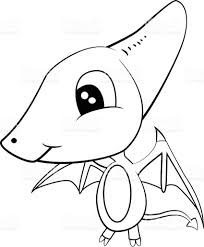 cute black and white cartoon of baby pterodactyl dinosaur stock