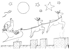 santa sleigh reindeer coloring pages christmas coloring