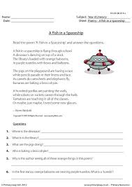 primaryleap co uk comprehension a fish in a spaceship worksheet