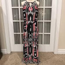 60 off dress barn dresses u0026 skirts black u0026 salmon print maxi