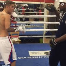 boxer dog in boxing gloves justin bieber tries boxing with world champion floyd mayweather