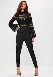 lace top jumpsuit black crochet lace top flare sleeve jumpsuit crochet lace