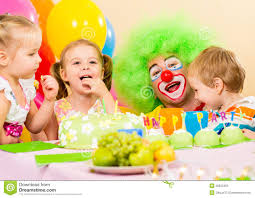 two cheerful clowns birthday children bright stock photo kids with clown celebrating birthday party stock image image of