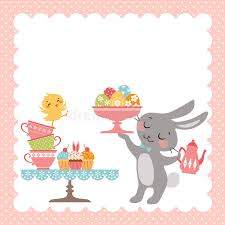 easter tea party easter rabbit tea party stock vector illustration of design