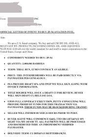 Corporate Letter Of Intent by Jp 54 Aviation Fuel Loi From Usa Company Quantity 2 000 000