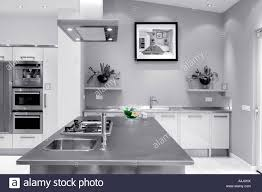 contemporary designed kitchen in luxury home stock photo royalty