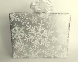 silver wrapping paper snowflake gift wrap etsy