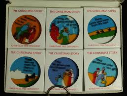 christmas story ornaments x 6 handcrafted translucent gold framed