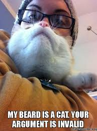 Cat Beard Meme - my beard is a cat your argument is invalid cat beard make a meme