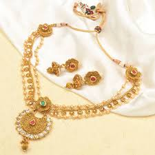 antique gold necklace images Buy multi layered pearl stone work antique gold necklace jpg