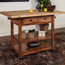 portable kitchen island cart with butcher block top and storage