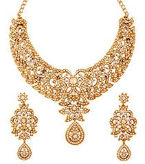 bridal jewelry necklace set images Touchstone hollywood glamour white pretty filigree jpg