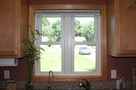 marvelous brown wooden trim kitchen window ideas added grey wall