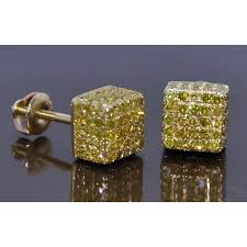 gold diamond stud earrings diamond stud earrings mens cube canary 1 1ct 10k yellow gold