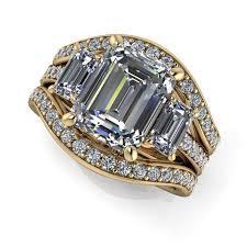 bridal set diamond bridal set three engagement emerald cut celestial