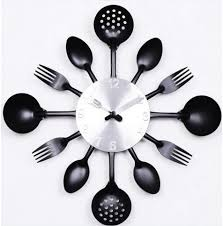 contemporary kitchen cutlery and utensil wall clock 15 excellent