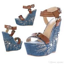 onlymaker wedge sandals women u0027s jeans sandals blue denim platform