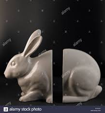 rabbit bookends glazed china white rabbit bookends with divided space in middle