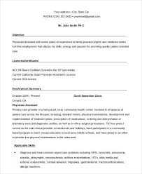 Samples Of Medical Assistant Resumes by Physician Assistant Resumes Formats Csat Co