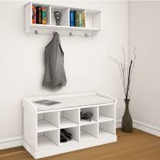 coat rack shoe bench hanger hooks storage cabinet w padded seat