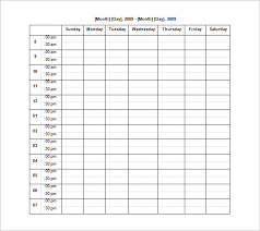 hourly calendar template free printable weekly hourly planner 4