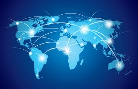 world map with global technology or social connection network with