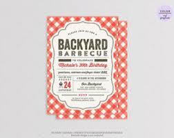 Backyard Birthday Party Invitations by 30th Birthday Bbq Etsy