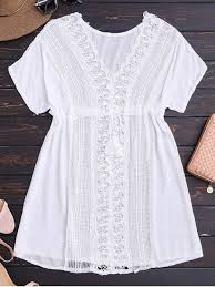 crocheted lace panel v neck beach dress white casual dresses one