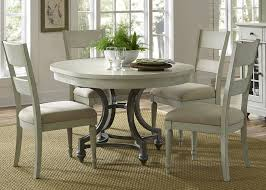 liberty furniture harbor view iii 5 piece round dining set in dove