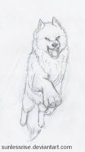 fierce leaping wolf sketch by sunlessrise on deviantart