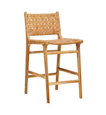 Leather Bar Stool With Back Fenton U0026 Fenton U2013 Leather Bar Stool With Back Teak U0026 Tan